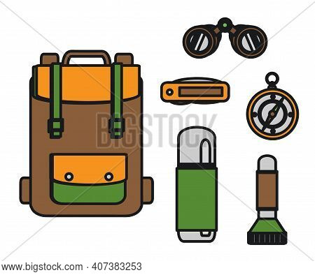 Hiking Accessories On A White Background. Symbol. Vector Illustration.