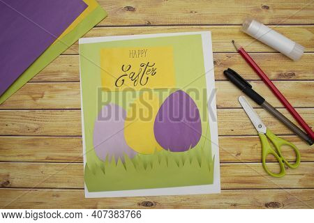 How To Make A Diy Easter Card From Cardboard, Step 4, Step By Step Instruction. Making Of Handmade E