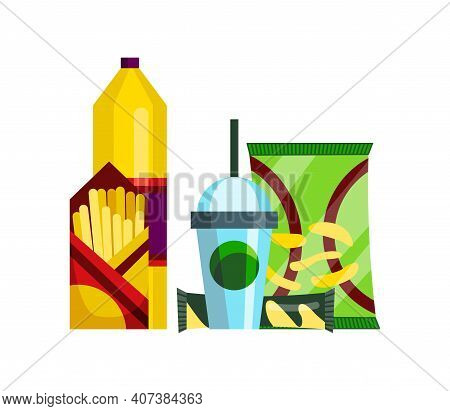 Snack Product Set. Fast Food Snacks Drinks, Chips, Juice And French Fries Isolated On White Backgrou