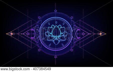 Sacred Geometry And Boo Symbol Set. Ayurveda Sign Of Harmony And Balance. Tattoo Design, Yoga Logo,
