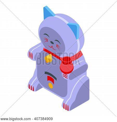 Maneki Neko Cat Icon. Isometric Of Maneki Neko Cat Vector Icon For Web Design Isolated On White Back