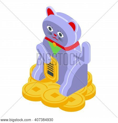 Fortune Lucky Cat Icon. Isometric Of Fortune Lucky Cat Vector Icon For Web Design Isolated On White