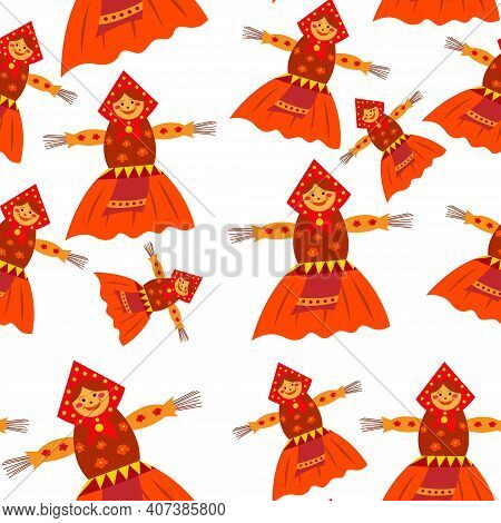 Shrovetide Or Maslenitsa Gift Card With Scarecrow On Samovar. Seamless Patter. Slavic Traditional Ru