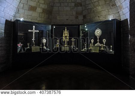 Barcelona, Spain - May 11, 2017: This Is The Premises Of The Treasury Of The Basilica Of Santa Maria