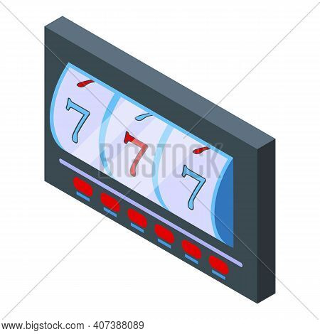 Slot Machine Seven Icon. Isometric Of Slot Machine Seven Vector Icon For Web Design Isolated On Whit