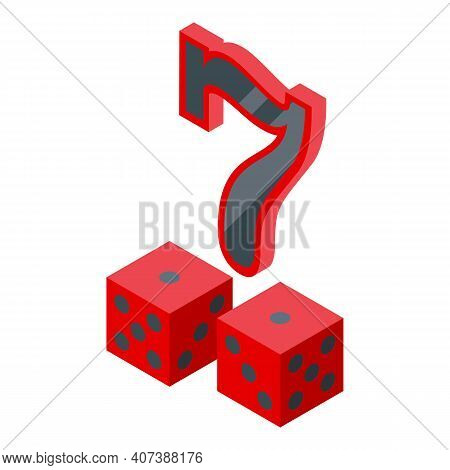 Lucky Seven Dice Icon. Isometric Of Lucky Seven Dice Vector Icon For Web Design Isolated On White Ba