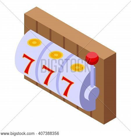Jackpot Lucky Seven Icon. Isometric Of Jackpot Lucky Seven Vector Icon For Web Design Isolated On Wh