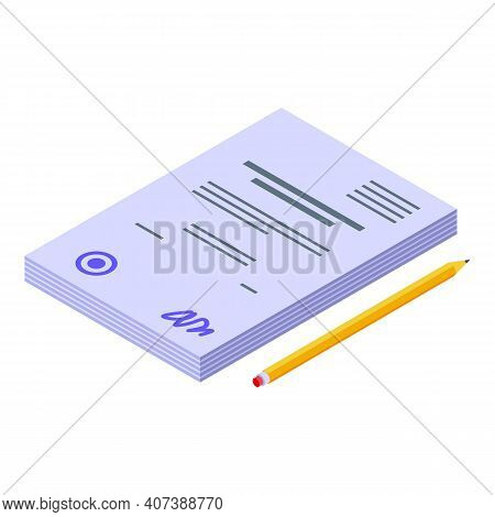 Degree Thesis Icon. Isometric Of Degree Thesis Vector Icon For Web Design Isolated On White Backgrou