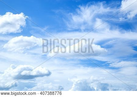 Blue Sky And White Cloud Beautiful In Summer. Good Weather Day.