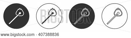 Black Burning Match With Fire Icon Isolated On White Background. Match With Fire. Matches Sign. Circ