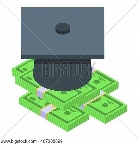Degree And Money Icon. Isometric Of Degree And Money Vector Icon For Web Design Isolated On White Ba