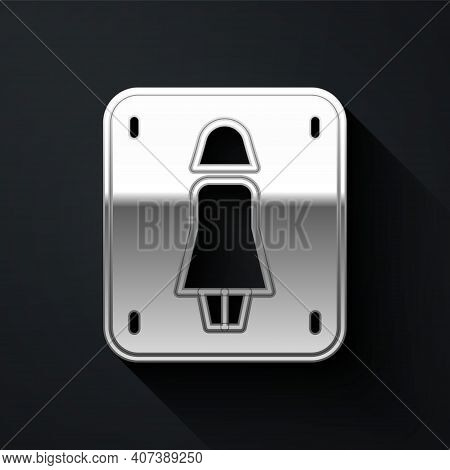 Silver Female Toilet Icon Isolated On Black Background. Wc Sign. Washroom. Long Shadow Style. Vector