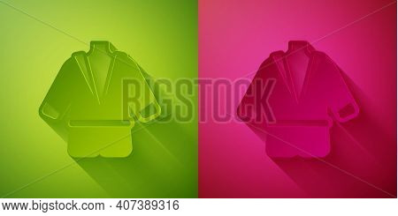 Paper Cut Bathrobe Icon Isolated On Green And Pink Background. Paper Art Style. Vector