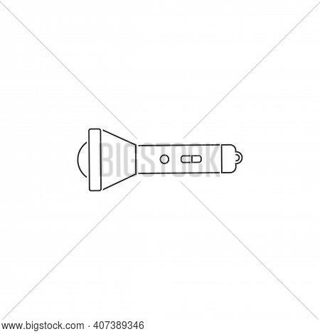 Flashlight Vector Line Icon. Flashlight Flat Sign