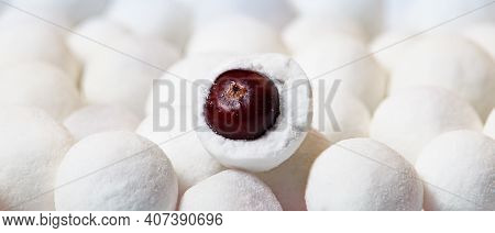 Closeup With Selective Focus Of Cranberries In Sugar.