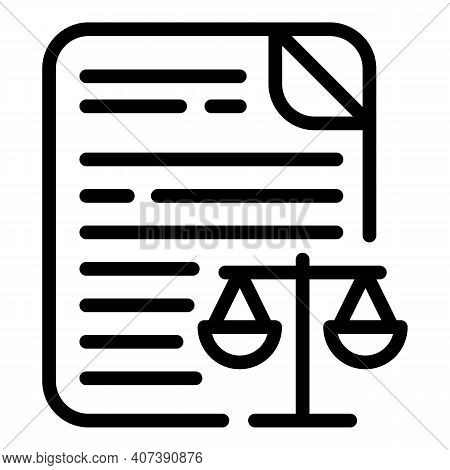 Justice Document Icon. Outline Justice Document Vector Icon For Web Design Isolated On White Backgro