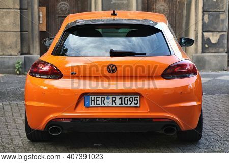 Herne, Germany - September 17, 2020: Volkswagen Scirocco R-line Sports Coupe Car Parked In Germany.