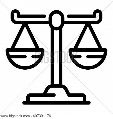 Justice Scale Icon. Outline Justice Scale Vector Icon For Web Design Isolated On White Background