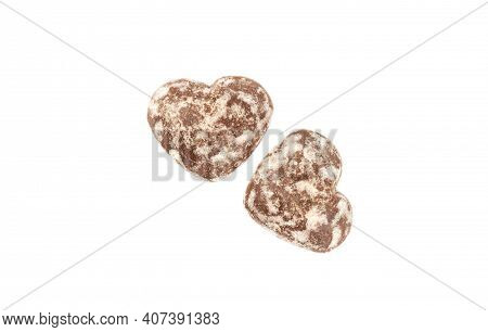 Two Heart Shaped Gingerbread Glazed Gingerbread Isolated On White Background.