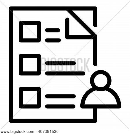 Authority Checklist Icon. Outline Authority Checklist Vector Icon For Web Design Isolated On White B