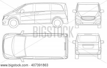View Front, Rear, Side, Top Electric Minivan With Premium Touches, Car Vector Template On White Back