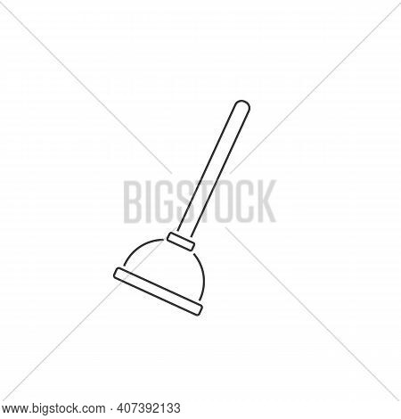 Plunger Line Icon, Vector Illustration. Flat Design Style. Vector Plunger Icon Illustration