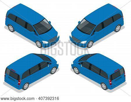 Electric Minivan With Premium Touches, Passenger Van, Multi Purpose Vehicle Car Vector Template On W