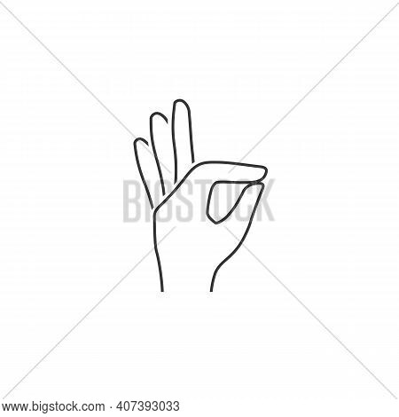 Gesture Okay Solid Line Icon. Ok Hand Gesture Vector Illustration Isolated On White. Yes Symbol Glyp