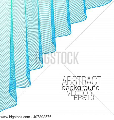 Light Blue Draped Curtain, Elegant Folds. Theater Stage Concept. Lightweight Veil. Wavy Curves. Vect