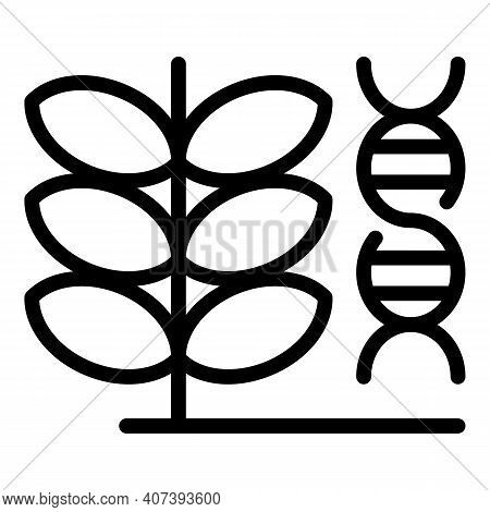 Gmo Dna Plant Icon. Outline Gmo Dna Plant Vector Icon For Web Design Isolated On White Background