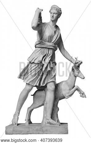 Classic white marble statuette Diana of Versailles isolated on white background. Scilpture of huntress with deer
