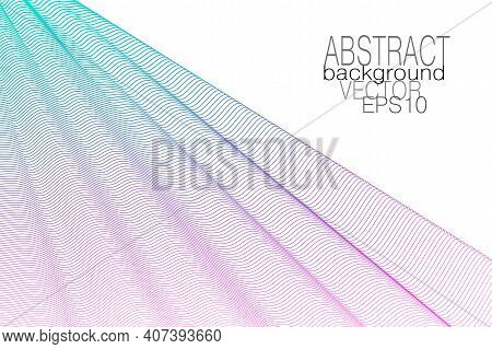 Turquoise, Purple Draped Net. Colored Curtain, White Background. Subtle Wavy Lines, Squiggle Curves.