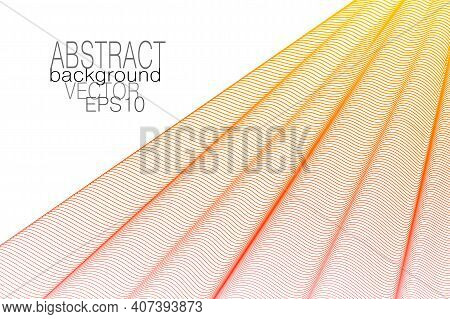 Red, Yellow Pleated Net. Draped Curtain, White Background. Thin Wavy Lines, Squiggle Curves. Vector