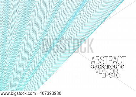 Aquamarine, Light Blue Draped Curtain, White Background. Waving Veil. Subtle Squiggle Curves. Vector