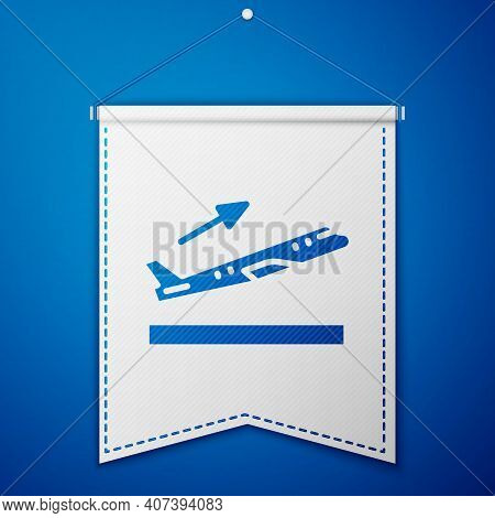 Blue Plane Takeoff Icon Isolated On Blue Background. Airplane Transport Symbol. White Pennant Templa