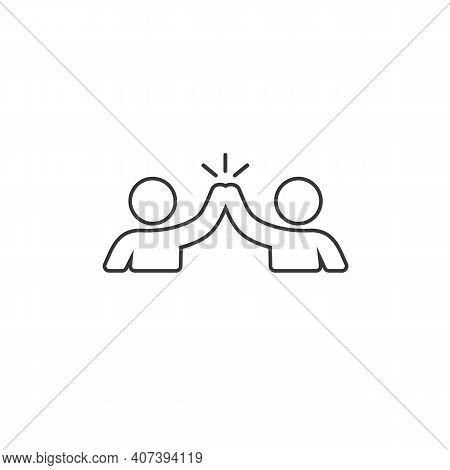 High Five Hand Gesture Silhouette Line Icon. Friendship. Friends. Vector