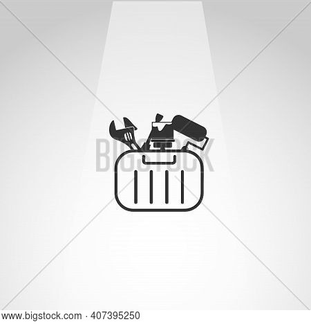 Toolbox With Tools Vector Icon, Toolbox Simple Isolated Icon