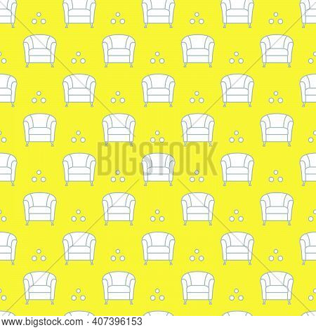 Vector Seamless Armchair Pattern. Cushioned Furniture. Design For Banner, Poster Or Print. Illuminat