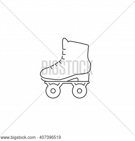 Roller Skate Line Icon Symbol. Vector Isolated Rollerskating Element In Trendy Style