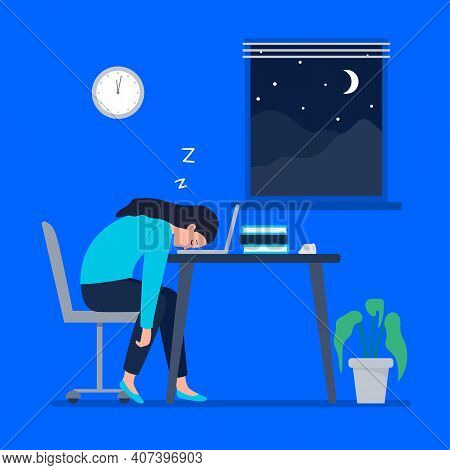 A Tired Woman Works At Night. Working At Home, Telework, Freelance. Vector Flat Illustration.