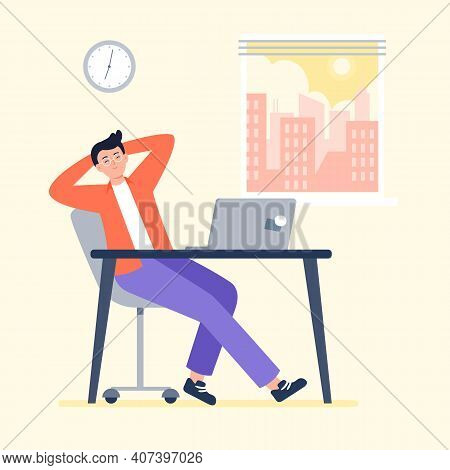 A Tired Man Starts Work At Morning. Working At Home, Telework, Freelance. Vector Flat Illustration.
