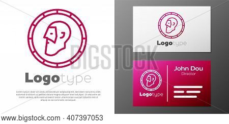 Logotype Line Ancient Coin Icon Isolated On White Background. Logo Design Template Element. Vector
