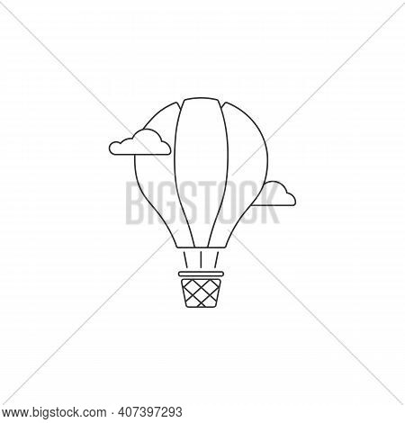 Hot Air Balloon Glyph Line Icon. Aerostat. Silhouette Symbol. Negative Space. Vector Isolated
