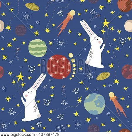 Space Seamless Pattern In Scandinavian Style. Rabbit With Stars In Cosmos. Hand Drawn Space, Stars,