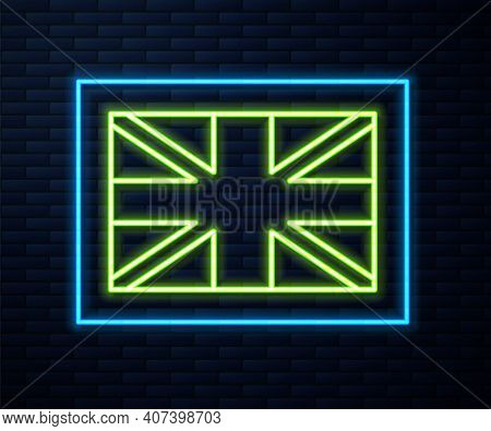 Glowing Neon Line Flag Of Great Britain Icon Isolated On Brick Wall Background. Uk Flag Sign. Offici