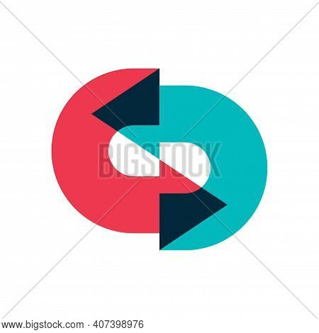 Logo Of Two Arrows Moving In A Circle One After The Other With Overlapping. Color Image Of Multi-col