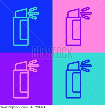 Pop Art Line Pepper Spray Icon Isolated On Color Background. Oc Gas. Capsicum Self Defense Aerosol.