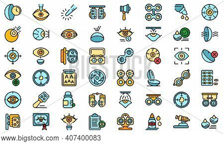 Optometry Icons Set. Outline Set Of Optometry Vector Icons Thin Line Color Flat On White