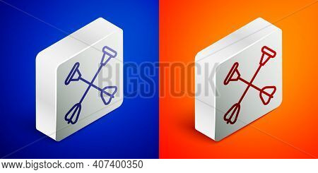 Isometric Line Arrow With Sucker Tip Icon Isolated On Blue And Orange Background. Silver Square Butt