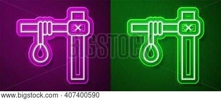 Glowing Neon Line Gallows Rope Loop Hanging Icon Isolated On Purple And Green Background. Rope Tied